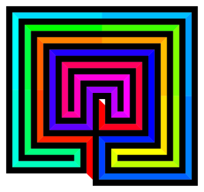 """Cretan-labyrinth-square-path-traversal multicolor"". Licensed under Public domain via Wikimedia Commons - http://commons.wikimedia.org/wiki/File:Cretan-labyrinth-square-path-traversal_multicolor.svg#mediaviewer/File:Cretan-labyrinth-square-path-traversal_multicolor.svg"