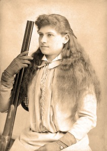 """Annie Oakley by Baker's Art Gallery c1880s-crop"" by Baker's Art Gallery, Columbus, Ohio - Heritage Auctions. Licensed under Public domain via Wikimedia Commons - http://commons.wikimedia.org/wiki/File:Annie_Oakley_by_Baker%27s_Art_Gallery_c1880s-crop.jpg#mediaviewer/File:Annie_Oakley_by_Baker%27s_Art_Gallery_c1880s-crop.jpg"