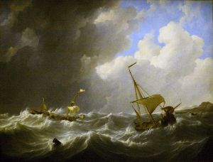 Johannes Christiaan Schotel, Storm on the sea, oil on canvas, cira 1825, Teylers Museum, Haarlem