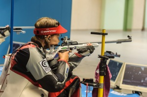 MUNICH - SEPTEMBER 6: Gold medalist Selina GSCHWANDTNER of Germany competes in the 50m Rifle 3 Positions Women Finals at the Olympic Shooting Range Munich/Hochbrueck during Day 4 of the ISSF World Cup Final Rifle/Pistol on September 6, 2015 in Munich, Germany. (Photo by Nicolo Zangirolami)