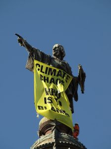 "Climate campaign slogan - ""Climate Chaos Who is to Blame"" on Columbus Monument, Barcelona"